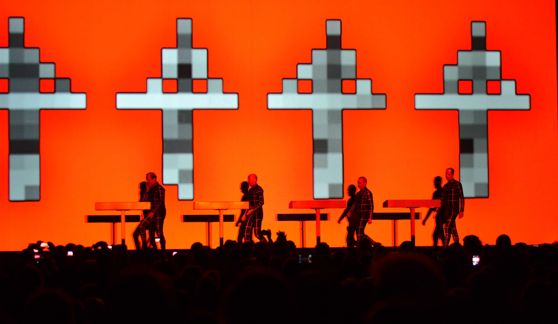 Kraftwerk takes the stage at Thomas Wolfe Auditorium, Friday. Photo by Brian Vu.
