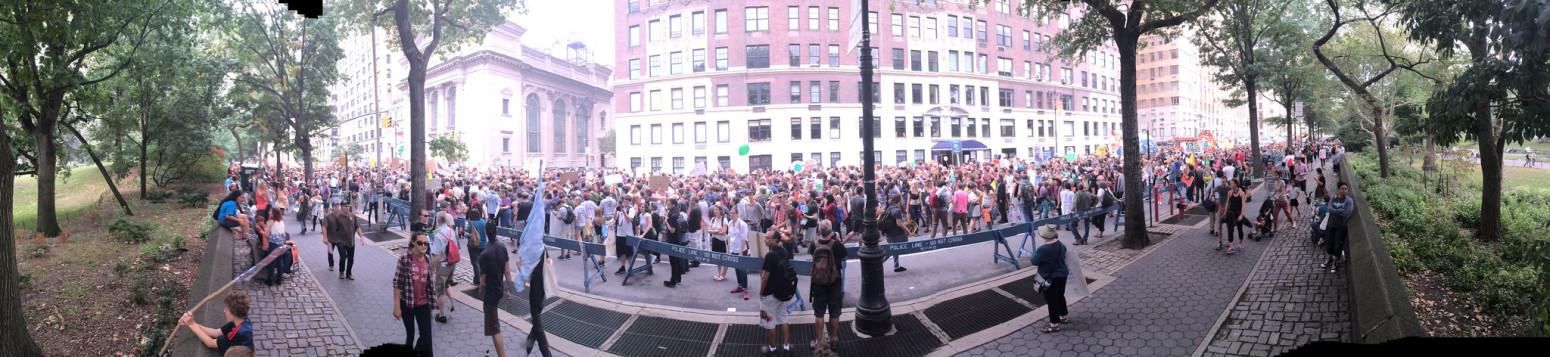 A panoramic view of attendees at the People's Climate March in NYC. Photo by Ashleigh Hillen