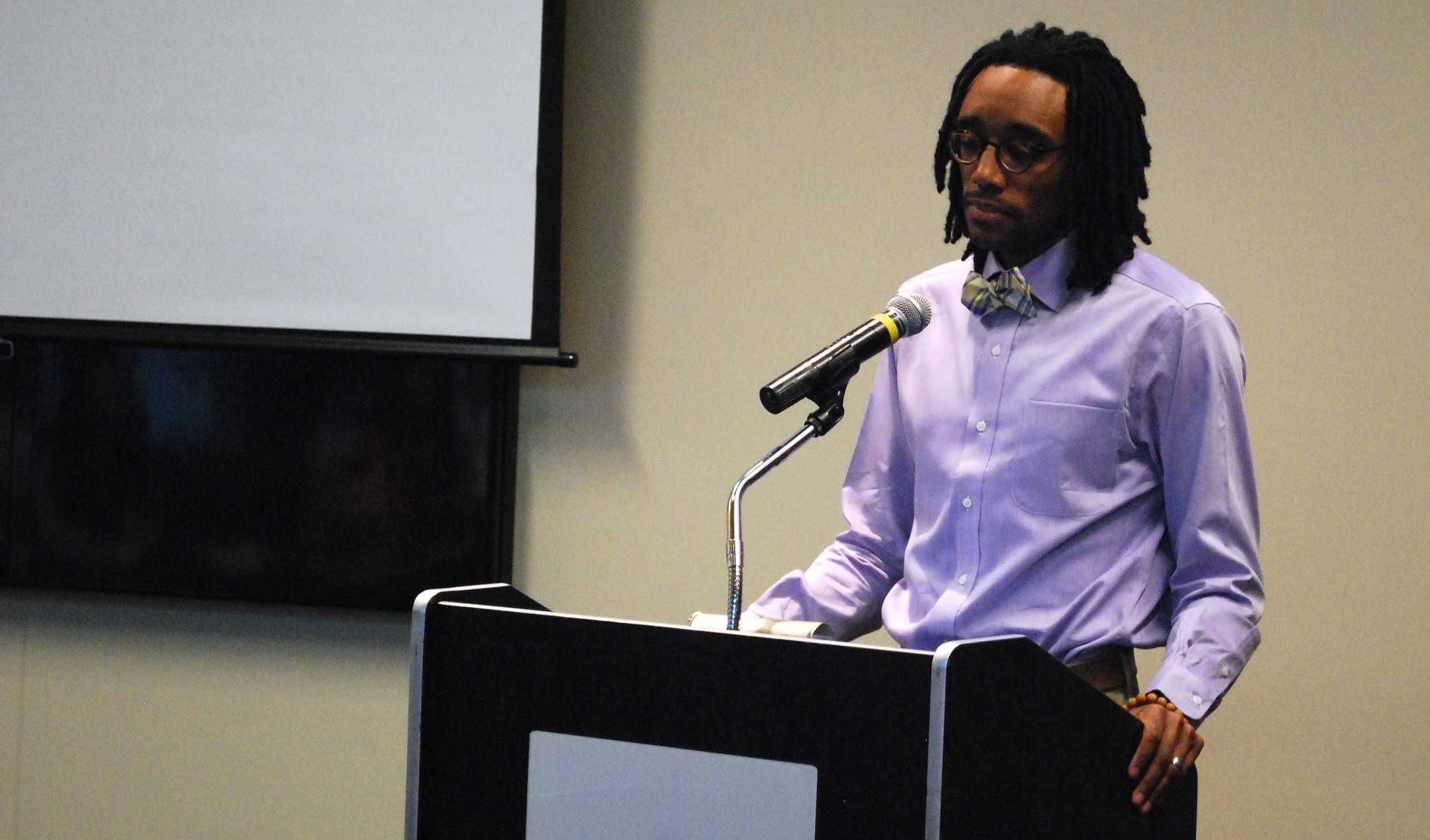 Marcus Harvey speaks about racial violence in America on Sept. 3.   Photo by Amanda Cline.