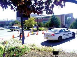 Campus Police were forced to shut down sections of University Heights after a bomb threat.  Photo by Rachel Ingram - Copy Desk Chief